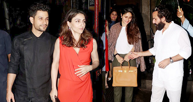 Saif Ali Khan And Kunal Kemmu step out for a dinner with their wives Kareena and Soha