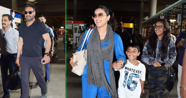 Ajay Devgn And Kajol Back To Mumbai After Spending A Long London Vacation With Kids
