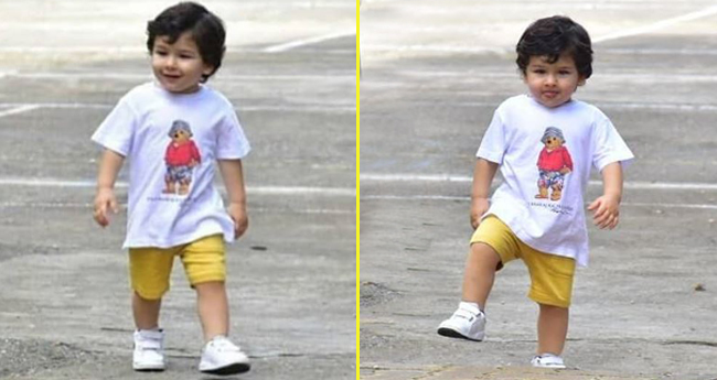 Taimur Ali Khan walks out alone like a boss teasing the paparazzi in his way