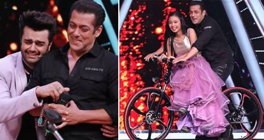 Salman Khan takes contestant Neelajana on a cycle ride on Indian Idol 10