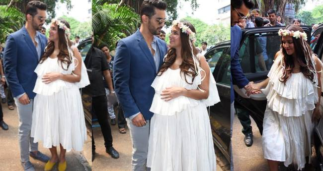 Neha Dhupia Looks Fresh As A Daisy In White Outfit For Her Baby Shower