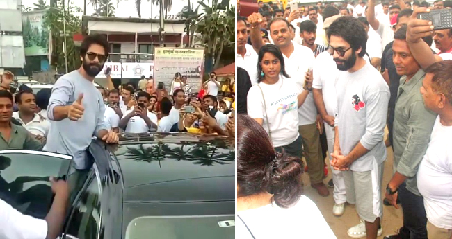 Shahid Kapoor seen at Juhu beach initiating cleanliness after Ganesh Ji's immersion