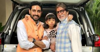 Aishwarya Rai shares beautiful pics of Aaradhya's adorable moment with grandpa Big B, dad Abhishek