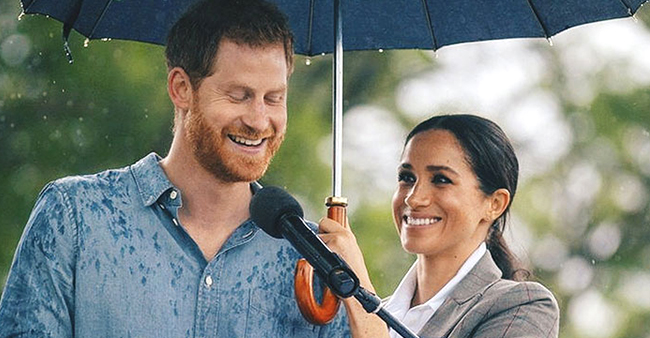 Twitteratis Reaction To Meghan's Holding An Umbrella For Harry During Speech Is Unmissable