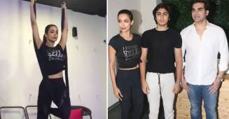 Arbaaz joined Malaika with son Arhaan for the launching event of her fitness Yoga Studio.