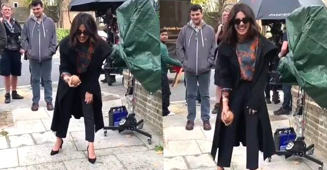 Desi Girl breaks coconut before kick-starting the shoot of The Sky Is Pink in London