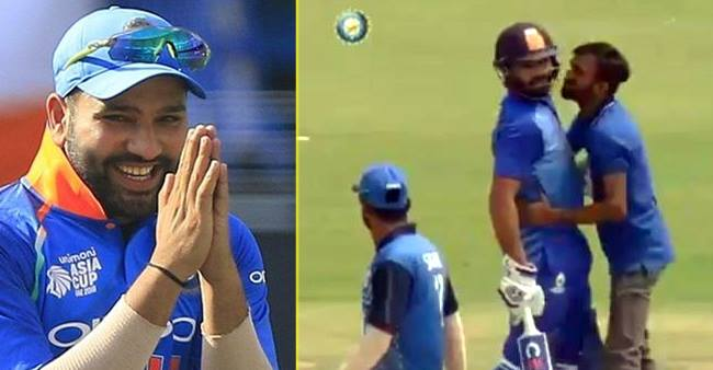 Rohit Sharma gets a peck on cheek and a hug by a fan during match, wife Ritika reacts