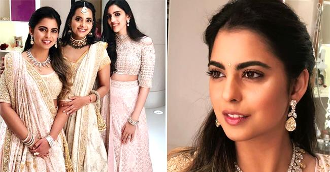 Isha Ambani Nailed us As she Appeared Charming and Captivating in Her Powder Pink Embellished Lehanga