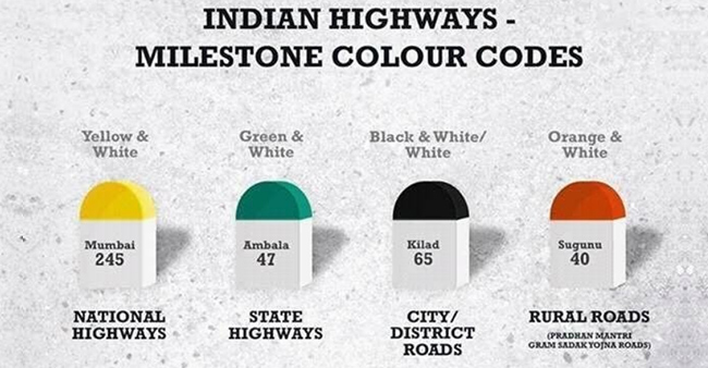 The reason behind the different colors of milestone in India is pretty amazing