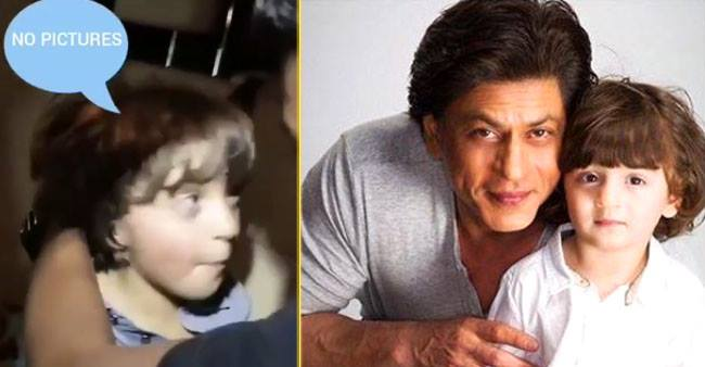 Shah Rukh's son AbRam Khan yells at the paparazzi, says No Pictures