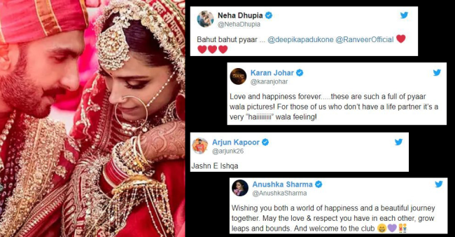 B-Town celebs shower their love to the newlyweds Deepika and Ranveer
