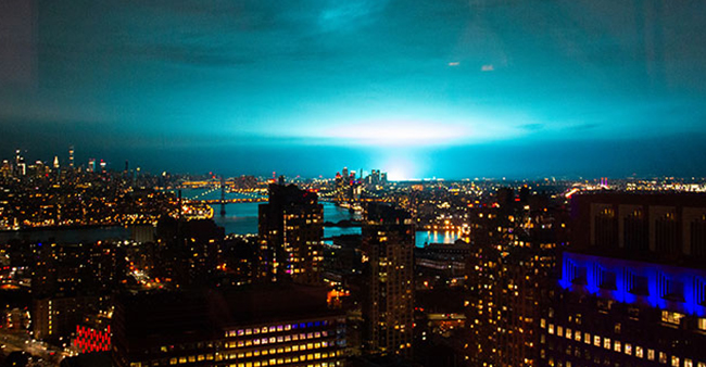 New York Netizens Suspect Aliens Coming After Witnessing Blue Vibrant Light In The Sky