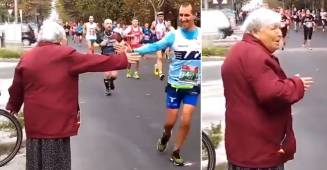 84 YO Granny Gives High-Fives To Marathon Runners As They Reach The Finish Line, Twitterati's are Amazed