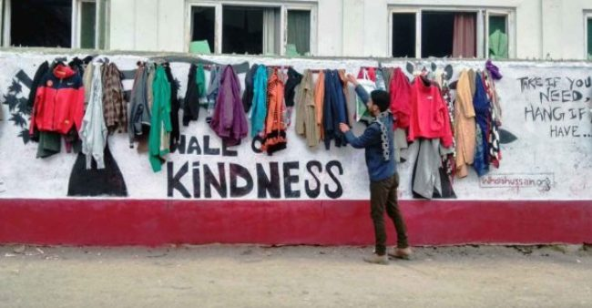 Wall Of Kindness In Kashmir Helps Needy People Get Warmth In Freezing Cold Winter