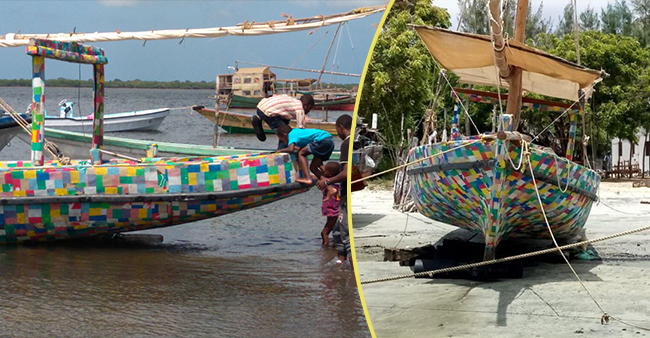 This boat is made up of recycled plastic and flip-flops, a great step to protect our environment
