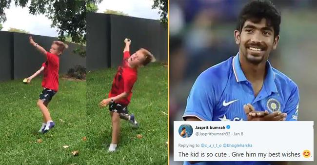 An Aussie Kid Imitates Bumrah, Indian fans and Bumrah Overwhelmed While ICC has A Witty Reaction