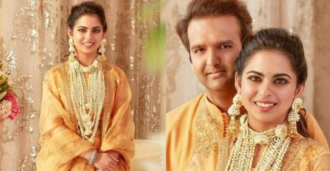 Isha And Anand Look Radiant In Yellow Outfits In These Unseen Pics From Their Haldi Ceremony