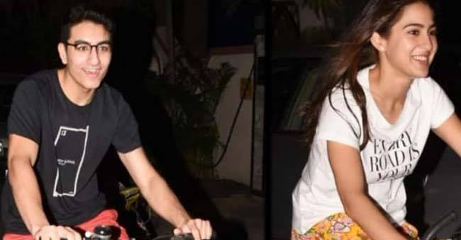 Sara Ali Khan along with Brother Ibrahim Ali goes for a bicycle ride, call paps 'Ap Yha Bhi Agae'