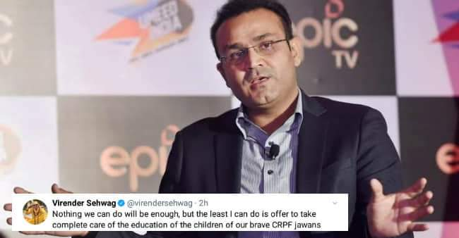 Virender Sehwag Pledges to Bear Education Expenses For Children of Pulwama Incident Martyrs