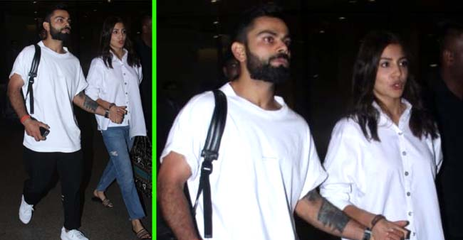 Virat Kohli and Wifey Anushka Sharma Co-Ordinated in White As They Return Hand-In-Hand From Goa