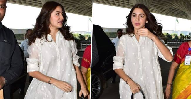 Anushka Sharma flaunts Ethnic Style while at the Airport.