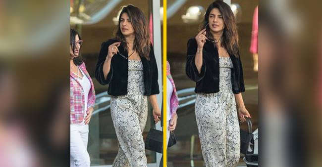Priyanka Chopra heads out looking absolutely stunning in a snake print Jumpsuit