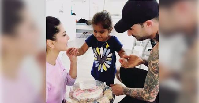 Sunny Leone celebrates Anniversary with a special cake made by daughter Nisha.