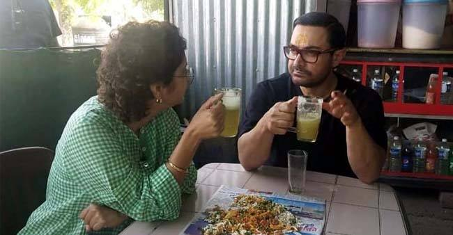 Aamir Khan shares a picture of him gulping sugarcane juice along with wife Kiran Rao