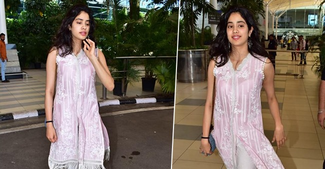 Janhvi Kapoor steps out in a gorgeous pink kurta look as she returns back from Lucknow