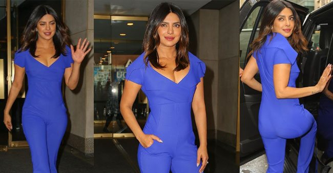 Priyanka Chopra stepped out in New York City wearing blue short-sleeved jumpsuit, setting major fashion goals