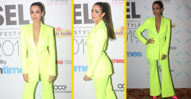 Malaika Arora Shines In Neon Pantsuit, Styles It With Pink Pumps