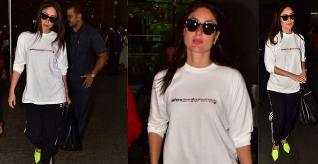 Kareena Kapoor spotted on the airport returning from London in a low-key outfit but her shoes has the Internet talking