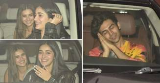 Tara Sutaria and Ananya Panday couldn't control their laughs as they approach to KJo's Birthday Party