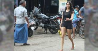Jahnvi Kapoor takes a walk to the gym as the road gets blocked