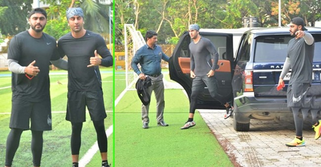 Ranbir Kapoor and Arjun Kapoor Play Football Together on a Lazy Sunday Evening