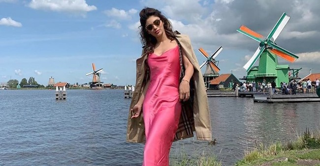 In Pictures: Mouni Roy's sizzling picture in satin pink dress from Amsterdam vacation goes viral