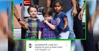 Watch: Sunny Leone's hilarious reaction as her son Asher picks up his nose in public