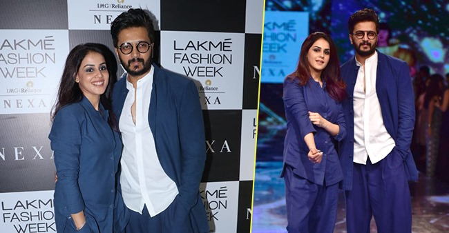 Riteish Deshmukh and Genelia D'Souza twin in Blue at the Lakme Fashion Week