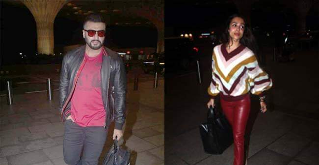 Arjun Kapoor and Malaika Arora twin in red as they head off to another vacation