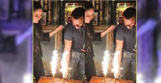Kareena Kapoor Khan and Saif Ali Khan all smiles as Saif cuts his birthday cake