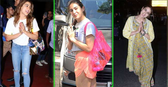Gestures of Sara Ali Khan greeting the paparazzi with respect and 'namaste'