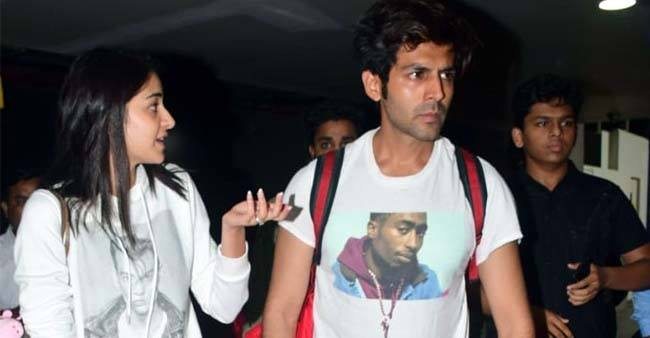 Kartik Aaryan and Ananya Panday get papped at the airport after completing Pati Patni Aur Woh