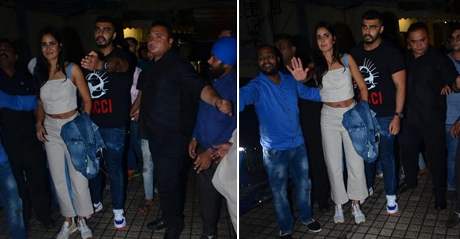 Arjun Kapoor protecting Katrina Kaif in this picture post a movie screening is all things love