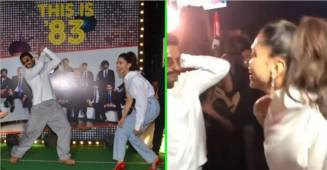 Ranveer Singh and Deepika Padukone played cricket and danced together at wrap party of '83