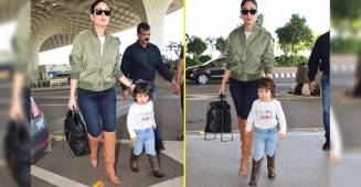Taimur Ali Khan and mommy Kareena Kapoor twin in boots as they get papped at the airport