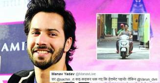 Varun Dhawan replies to a twitter user after he called Varun out for riding scooter without helmet