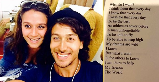 Tiger Shroff's sister Krishna shares a poem written by Tiger while he was aged 16, check it out