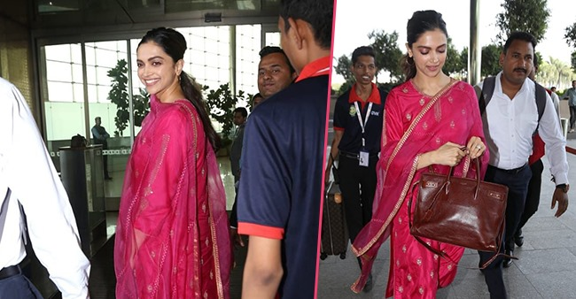 Deepika Padukone channels her inner diva as she gets papped at the airport in pink salwar suit