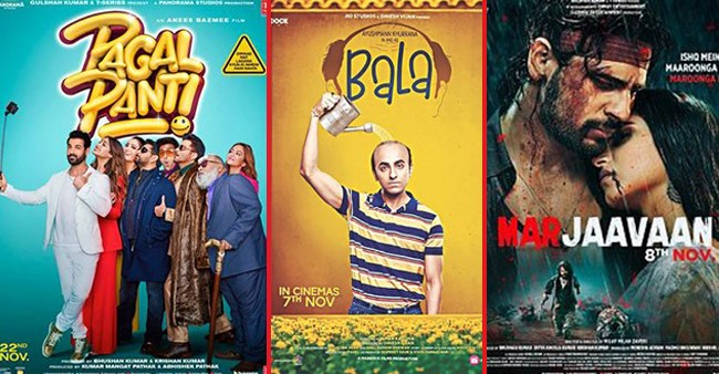 The Box Office Collections of Marjaavaan, Pagalpanti, Bala, Frozen 2, and Housefull 4