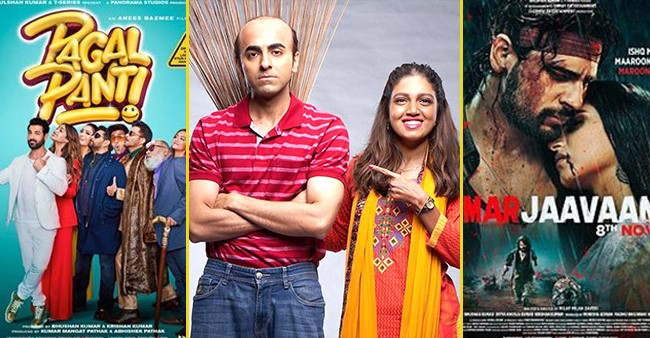 Box Office Collections: Bala stands tall at 108 Cr, Pagalpanti and Marjaavaan struggling